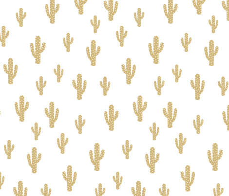 Cactus Gold - White background fabric by kimsa on Spoonflower - custom fabric