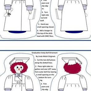 Graduation Andy Raggedy Andy Cut and Sew Doll Ornament
