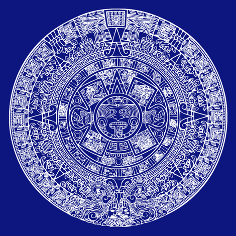 Aztec Calendar Swatch - Dark Blue fabric by thinlinetextiles on Spoonflower - custom fabric