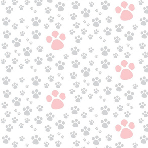 Paw Prints  SMALL  - pink gray