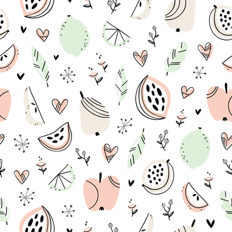 Stylized fruits pattern fabric by stolenpencil on Spoonflower - custom fabric