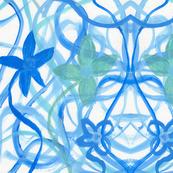 Blue Flowers in Swirls