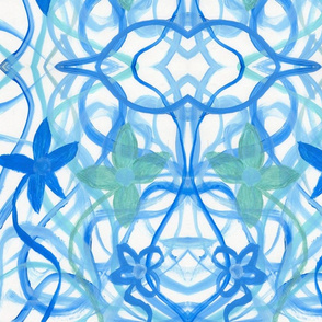 Blue Flowers in Swirls