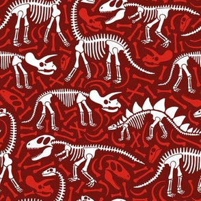 Dinosaurs and bones (red)