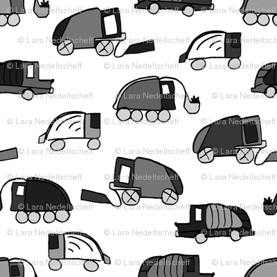 Garbage Trucks Black and White small