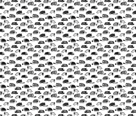 Garbage Trucks Black and White small fabric by larageorgine on Spoonflower - custom fabric