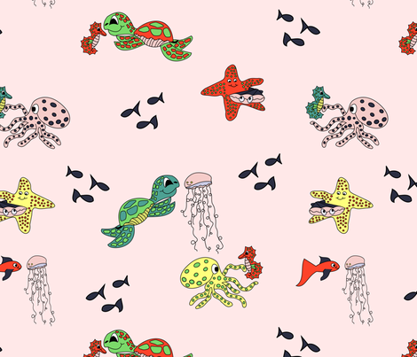 sea friends pink large fabric by pamelachi on Spoonflower - custom fabric