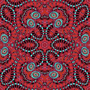 Red Black Kaleidoscope Stripes and Dots