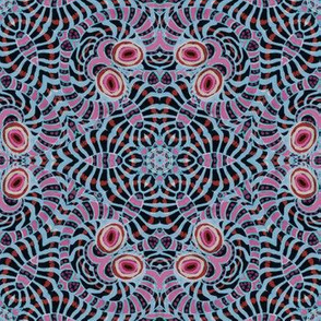 Black Sky Pink Kaleidoscope Stripes and Dots