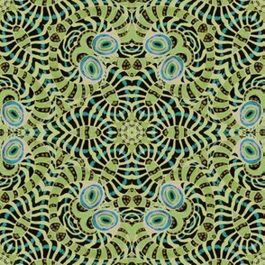 Lime Turquoise Black Kaleidoscope Stripes and Dots