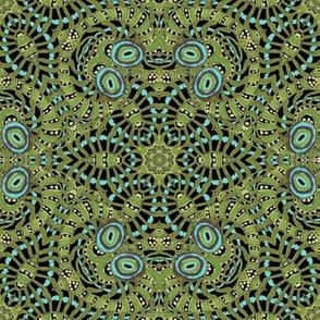 Black Aqua Green Kaleidoscope Stripes and Dots