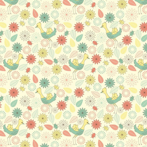 Pattern with birds, flowers and beetles