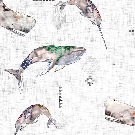 Whale Tribe (SMALL) fabric by nouveau_bohemian on Spoonflower - custom fabric