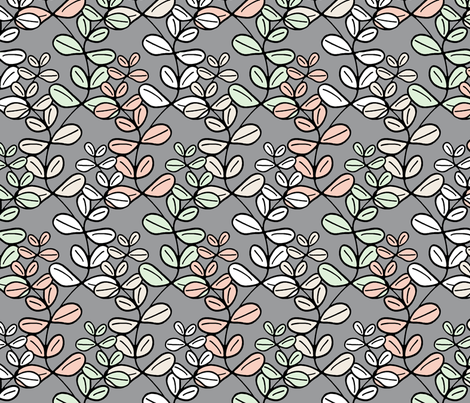 Growing Lucky - The Wedding Edition in grey silk fabric by inscribed_here on Spoonflower - custom fabric