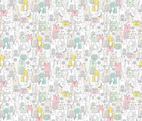 Doodle cats and dogs fabric by kostolom3000 on Spoonflower - custom fabric