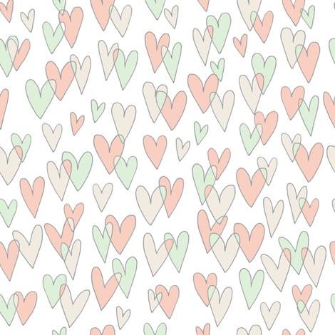 Fused Hearts (white) fabric by seesawboomerang on Spoonflower - custom fabric