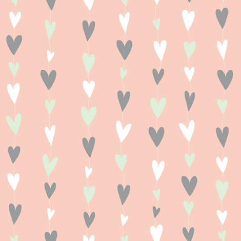 Heart Strings (pink) fabric by seesawboomerang on Spoonflower - custom fabric