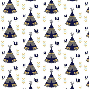 TeePee Tee Pee Navy Gray Gold