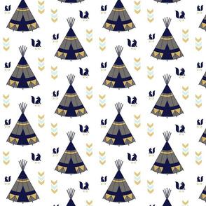 TeePee Tee Pee Navy Gray Gold