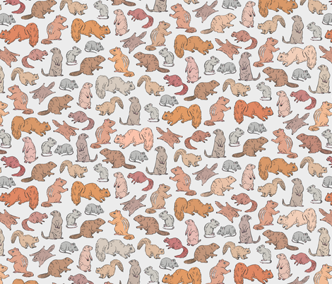 Rodents / Gnawers | Grey fabric by imaginaryanimal on Spoonflower - custom fabric