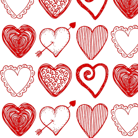 Valentine Hearts fabric by sunshineandspoons on Spoonflower - custom fabric