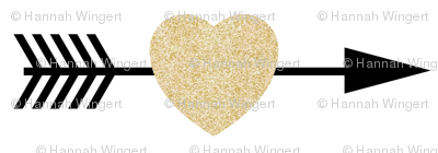 Gold Glitter Shooting Hearts