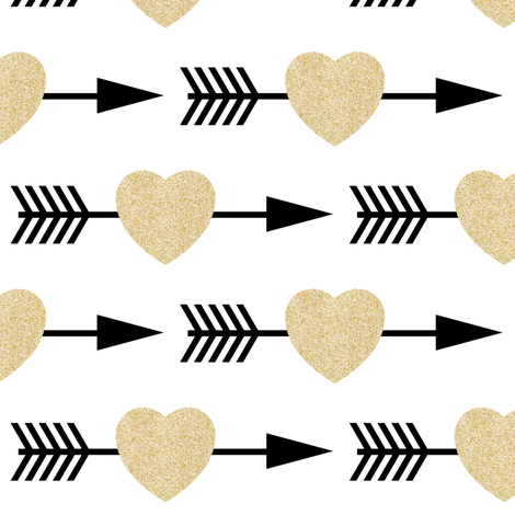 Gold Glitter Shooting Hearts fabric by sunshineandspoons on Spoonflower - custom fabric