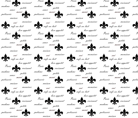 FrenchWordsBlackOnWhite fabric by della_vita on Spoonflower - custom fabric