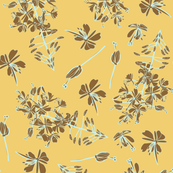 brown and gold floral