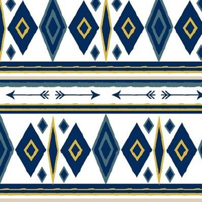 Aztec in Teal, Navy and Gold