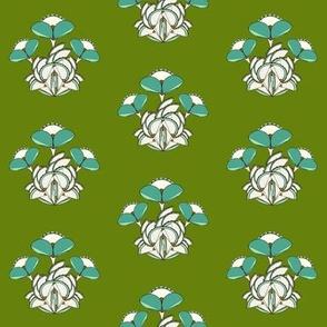Triple Geometric Flower- green