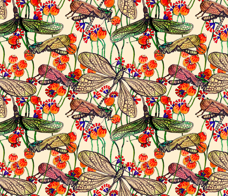 Dragonfly Linen fabric by designsld on Spoonflower - custom fabric