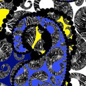 Agapanthus Paisley - white, yellow & blue