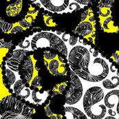 Agapanthus Paisley - yellow, white & black