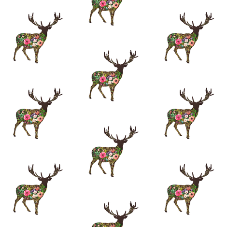 Floral Deer Standing fabric by shopcabin on Spoonflower - custom fabric
