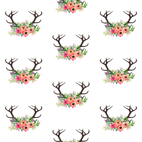 Floral Deer Antlers fabric by shopcabin on Spoonflower - custom fabric
