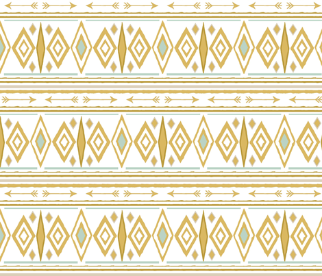 Aztec Arrow in Gold and Mint fabric by sproutz on Spoonflower - custom fabric