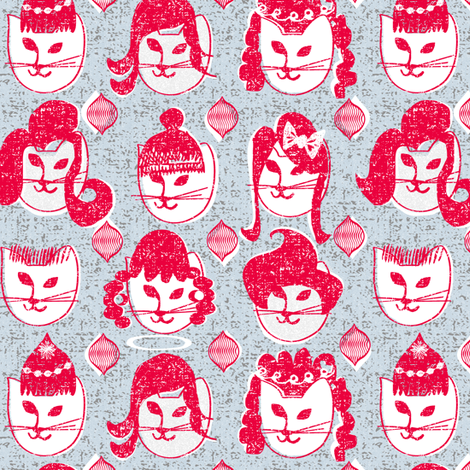 kitty's got a brand new 'do fabric by ottomanbrim on Spoonflower - custom fabric