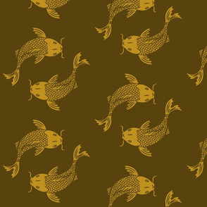 KOI_GOLD_DESIGN_PATTERN_ON_FABRIC