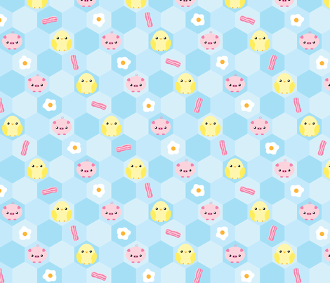bacon + egg hexagon fabric by jshawx on Spoonflower - custom fabric