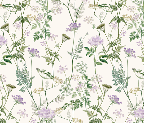 Queen Anne's Lace - Lilac fabric by anom-aly on Spoonflower - custom fabric