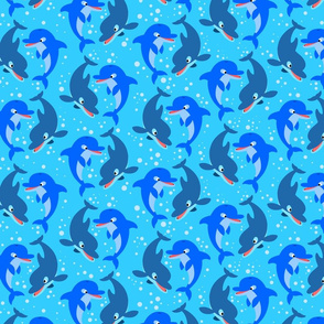 Cute Jolly Cartoon Dolphins Light Blue by Cheerful Madness!!