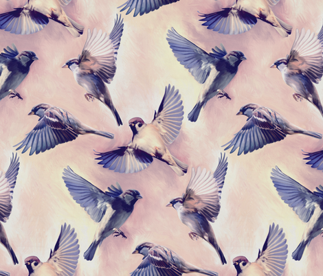 Sparrow Flight rose quartz and serenity - large fabric by micklyn on Spoonflower - custom fabric