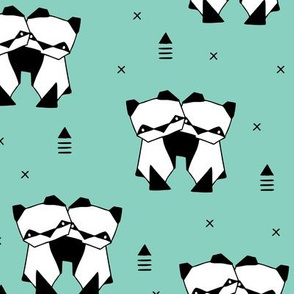 Origami animals cute panda geometric triangle and scandinavian style print black and white mint