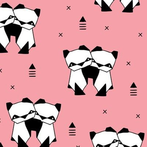 Origami animals cute panda geometric triangle and scandinavian style print black and white pink