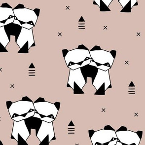 Origami animals cute panda geometric triangle and scandinavian style print black and white gender neutral beige