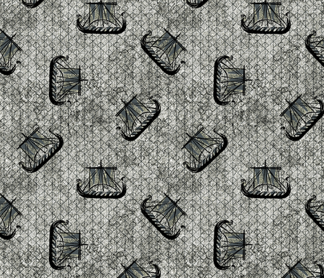 Viking Ships grey fabric by susiprint on Spoonflower - custom fabric