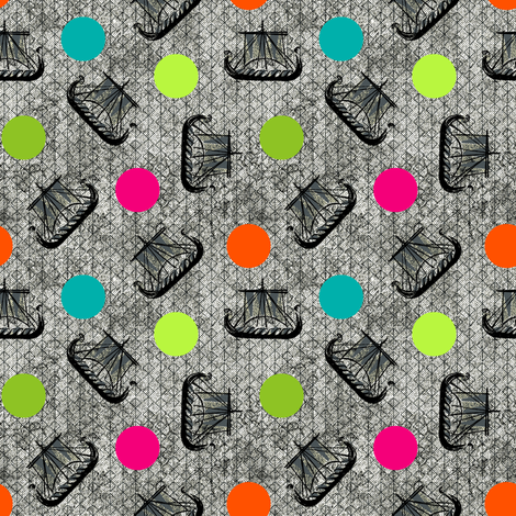 viking ships and dots fabric by susiprint on Spoonflower - custom fabric