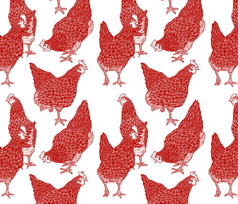 Red Hens fabric by threebearsprints on Spoonflower - custom fabric