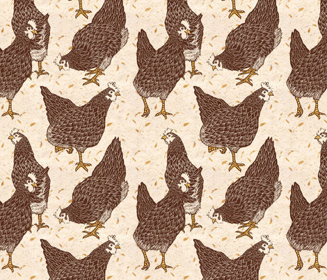 Brown Hens fabric by threebearsprints on Spoonflower - custom fabric